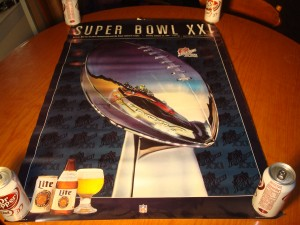 Official Poster 1977 NFL Super Bowl XI from The Rose Bowl in Pasedena, CA featuring Oakland Raiders (Coach john Madden) vs Minnesota Vikings (Coach Bud Grant)