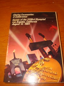 Official Program of the Closing Ceremonies at the 1984 Los Angeles Olympic Games at the L A Memorial Coliseum