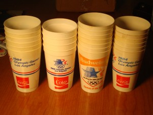Official Souvenier Concession Cups for 1984 Los Angeles Olympic Games sponsored by Coca Cola
