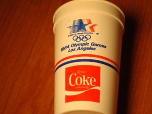 Official Souvenier Cup of 1984 Los Angeles Olympic Games sponsored by Coca Cola