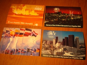 Official Souvenier Post Cards 1984 Los Angeles Olympics featuring the Olympic Flame, Opening Ceremony, Downtown Los Angeles