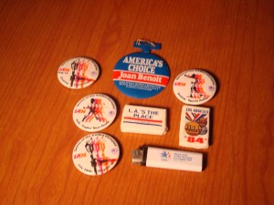 Official Souveniers 1984 Los Angeles Olympic Games - Pins, Cigarette Lighter & Bars of Hotel Soap