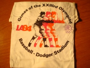 Official T-shirt 1984 Los Angeles Olympics Baseball Competition from Dodger Stadium, Chavez Ravine