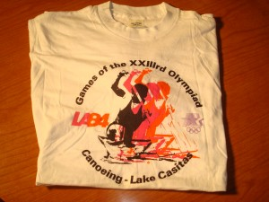 Official T-shirt 1984 Los Angeles Olympics Canoeing Competition from Lake Casitas, Ventura County, CA
