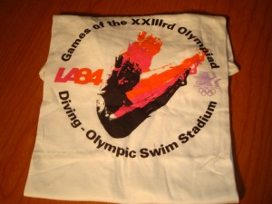 Official T-shirt 1984 Los Angeles Olympics Diving Competition at Olympic (McDonalds) Swim Stadium on campus of USC.