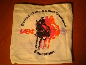 Official T-shirt 1984 Los Angeles Olympics Equestrian Competition from Santa Anita Park.