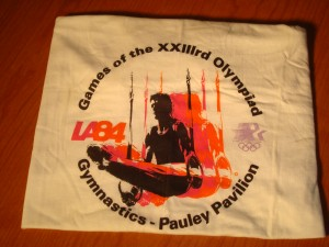 Official T-shirt 1984 Los Angeles Olympics Gymnastics Competition from Pauley Pavilion on the UCLA Campus in Westwood, CA
