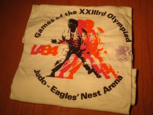 Official T-shirt 1984 Los Angeles Olympics Judo Competition from Eagles' Nest Arena, Cal State University, Los Angeles