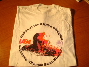 Official T-shirt 1984 Los Angeles Olympics Swimming Competition from Olympic (McDonald's) Swim Stadium at the University of Southern California