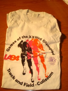 Official T-shirt 1984 Los Angeles Olympics Track & Field Competition from the LA Memorial Coliseum