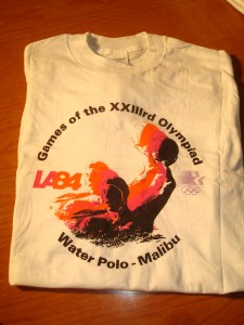 Official T-shirt 1984 Los Angeles Olympics Water Polo Competition from Raleigh Runnels memorial Pool, Pepperdine University, Malibu, CA