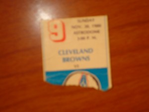 Official Ticket 1980 NFL Game of Week featuring Houston Oilers (Coach Bum Phillips) vs Cleveland Browns (Coach Sam Rutigliano)