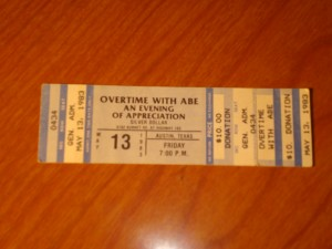 Official Ticket May 13, 1983 Overtime With Abe, An Evening of Appreciation for University of Texas Men's Basketball Coach Abe Lemons