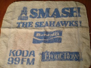 Original 1977 Houston Oilers Smash the Seahawks Towel sponsored by Randal's Grocery, KODA 99FM, and Front Row Productions