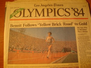 Original August 6, 1984 Edition of Los Angeles Times Day 10 XXIII Olympic Games featuring Women's Marathon Gold Medal Winner USA Joan Benoit