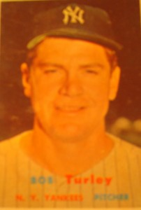Original Baseball Card 1957 Topps New York Yankees P Bob Turley