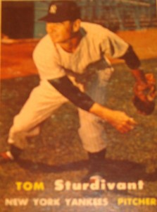 Original Baseball Card 1957 Topps New York Yankees P Tom Sturdivant