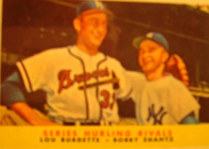 Original Baseball Card 1957 Topps World Series Pitching Rivals NL Champ  Braves Lou Burdette & AL Champ Yankees Bobby Shantz