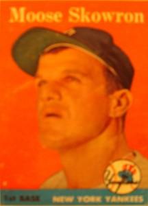 Original Baseball Card 1958 Topps New York Yankees 1B Moose Skowron
