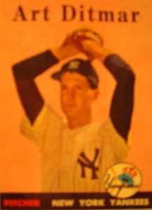 Original Baseball Card 1958 Topps New York Yankees P Art Ditmar