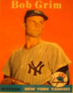 Original Baseball Card 1958 Topps New York Yankees P Bob Grim
