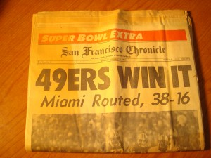 Original January 21, 1985 Edition of San Francisco Chronicle with front page headlines NFL 49'ers Win It, Miami Routed, 38 - 16