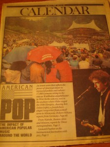 Original July 29, 1984 Edition of Los Angeles Times XXIII Olympic Games Caledar of Events featuring Olympic Music Concert of Pop Legend Bob Dylan