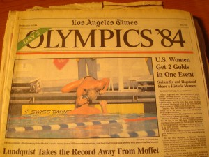 Original July 30, 1984 Edition of Los Angeles Times Day 3 coverage of the XXIII Olympic Games featuring USA Swimming Gold Medalists Steve Lundquist, Nancy Hogshead & Carrie Steinseifer