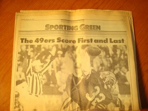 Original Monday, January 21,1983 Edition of San Francisco Chronicle Sporting Green featuring lead article on 49'ers Score First & Last