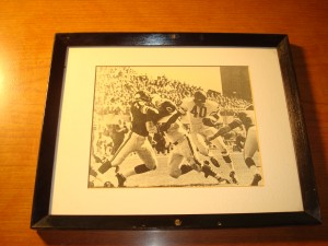 Original Picture 1966 Chicago Bears All Pro & NFL Most Valuable Player RB Gayle Sayers vs Minnesota Vikings Purple People Eaters DT Jim Marshall & DE Carl Eller