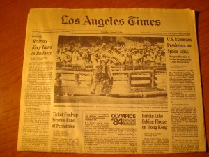 Original Thursday, August 2, 1984 Edition of Los Angeles Times with Los Angeles Olympics Lead Article
