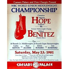 Photo of 1981 WBC Super Welterweight Title Fight With Champ Maurice Hope VS Wilfred Benitez At Caesars Palace