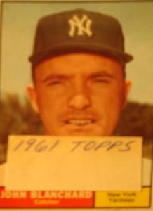 MLB - Original Baseball Card 1961 NY Yankees C John Blanchard