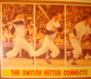 MLB - Original Baseball Card 1961 NY Yankees CF Mickey Mantle connecting in WS Game 5 win.