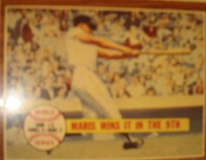 MLB - Original Baseball Card 1961 NY Yankees RF Roger Maris HR in 7th to win WS Game 3