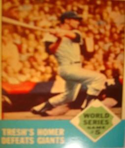 MLB - Original Baseball Card 1962 World Series New York Yankees LF Tom Tresh's game winning HR in Game 5