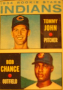 MLB - Original Baseball Card 1964 Cleveland Indians Rookie Stars OF Bob Chance & P Tommy John a future Yankees