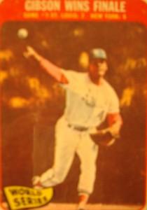 MLB - Original Baseball Card 1967 World Series Champion & MVP St Louis Cardinals P Bob Gibson winning Game 7