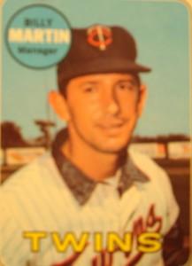 MLB - Original Baseball Card 1969 Minnesota Twins Manager Billy Martin