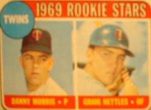 MLB - Original Baseball Card 1969 Minnesota Twins Rookie Stars P Danny Morris & OF Craig Nettles