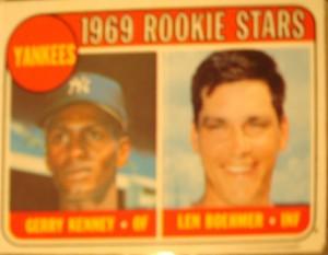 MLB - Original Baseball Card 1969 New York Yankees Rookie Stars IF Gerry Kenney & 3B Len Boehmer
