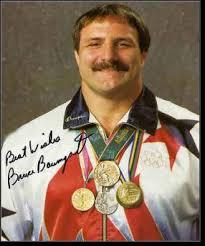 Photo of 1984 Olympics – Men's Freestyle Wrestling – USA Bruce Baumgardner & USA Joe Gonzalez