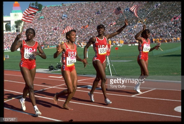 Photo of Olympics – 1984 Los Angeles – Track – Womens 4 x 400m Relay Finals – USA Gold