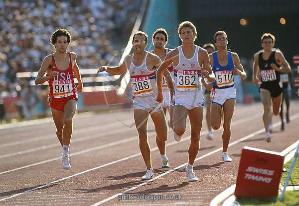 Photo of Olympics – 1984 Los Angeles – Track – Mens 1500m Semifinals – USA Spivey & GBR Cram & GBR Ovett