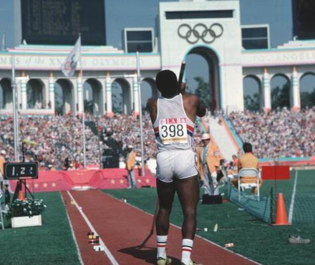 Photo of Olympics – 1984 Los Angeles – Track – Decathlon – Pole Vault – USA Tim Bright & Javelin – FGR Jurgen Hingsen