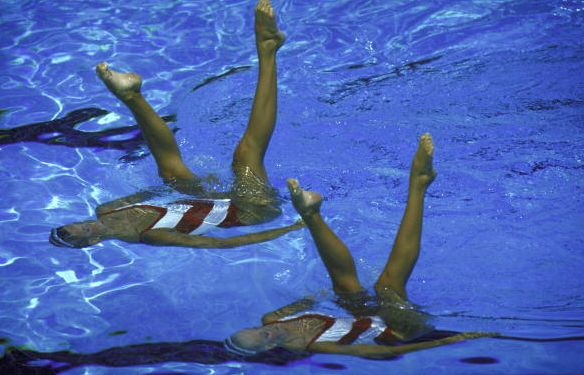 Photo of Olympics – 1984 Los Angeles – Synchronized Swimming – SUI Edith Boss & Karin Singer