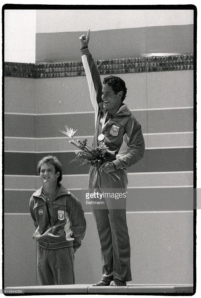 Photo of Olympics – 1984 Los Angeles – Diving – Mens Platform Medal Ceremony – Greg Louganis & Bruce Kimball