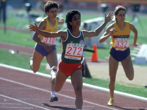 Photo of Olympics – 1984 Los Angeles – Track – Womens 400 m Hurdles – MAR Nawal El Moutawakel