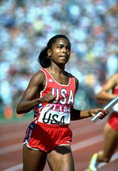 Photo of Olympics – 1984 Los Angeles – Track – Womens 4 x 100 m Relay Finals – USA Gold
