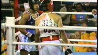 Photo of Olympics – 1984 Los Angeles – Boxing – Lt Welterwts – USA Jerry Page VS THA Dhawee Umponmaha